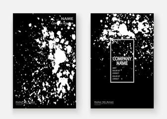 Monochrome explosion paint splatter artistic cover frame design. Black white splash spray texture background. Trendy creative template vector Cover Report Catalog Brochure Flyer Poster Banner