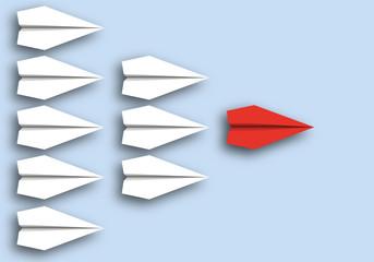 origami - concept - idée - leadership - leader - symbole - avion de papier - patron - direction