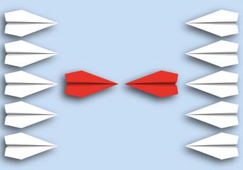 origami - concept - idée - face à face - opposé - symbole - avion de papier - opposition
