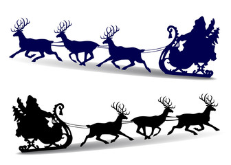 Christmas Silhouette of Santa Claus rides in a sleigh on deer, cartoon on white background,