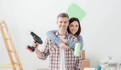 Couple doing home renovations