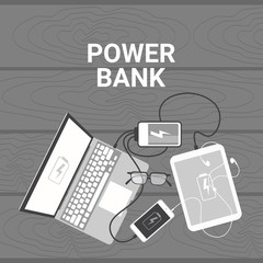 Power Bank Concept Set Of Devices Charging From Portable Battery Mobile Charger Laptop, Smart Phone Digital Tablet Angle View Vector Illustration