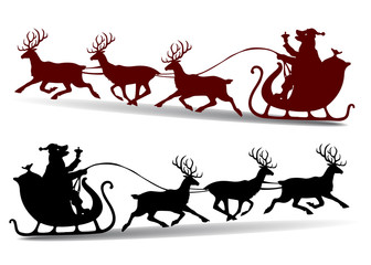 Christmas Silhouette, Dog in santa claus cap rides in a sleigh on a deer, cartoon on white background,