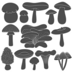 Set of black and white images with mushrooms. Isolated vector objects on white background.
