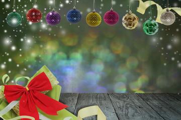 Christmas background with christmas ball and snow on a balcony,abstract circular bokeh background