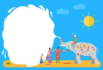 Flat design, Holi celebration background, Vector Illustration