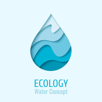 Water drop Ecology logo design template. Vector abstract waterdrop paper cut style logotype. Save water - ecology concept