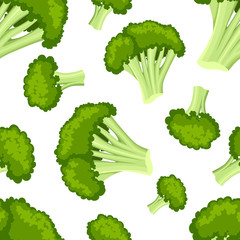 Seamless pattern with broccoli flat style fresh food useful vegetables vector illustration on white background web site page and mobile app design