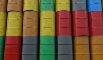 Pile of many oil barrels. 3D rendered illustration.