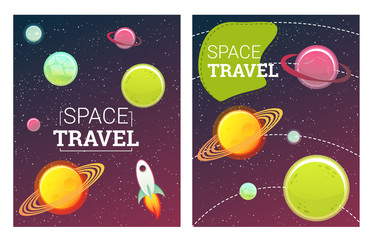 Space banners set with planets, comet, stars. design elements