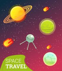 Space banner with planets, comet, stars. design elements