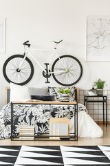 Black and white bicycle close-up