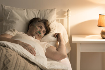 Dying lonely senior woman