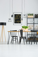 Black chairs in bright interior
