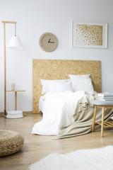 Messy bedsheets in bedroom