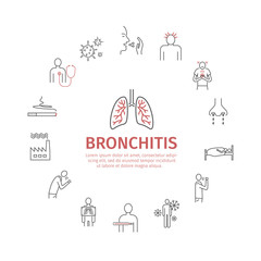 Bronchitis banner. Symptoms, Treatment. Line icons set. Vector signs for web graphics.