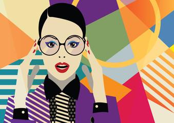 Fashion girl in style pop art.