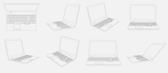 Eight Images of  Laptop Computers on a white background all 3D