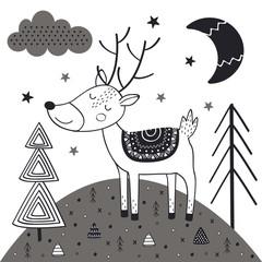 monochrome deer in Scandinavian style. Poster, childish print, card - vector illustration, eps