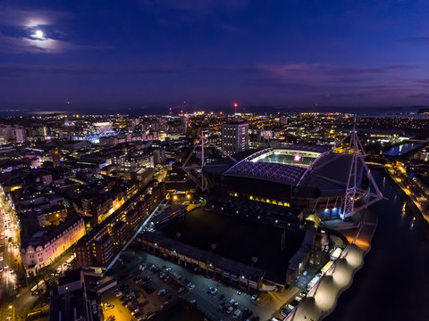 Aerial  view of Cardiff city centre and the bay area at night.