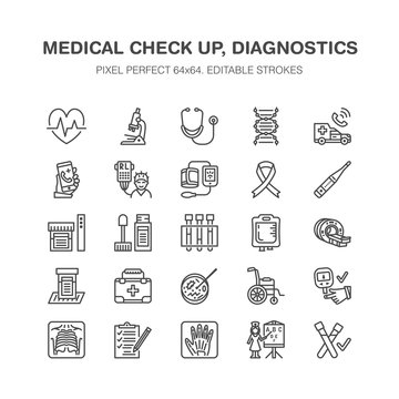 Medical check up, flat line icons. Health diagnostics equipment - mri, tomography, glucometer, stethoscope, blood pressure, x-ray, blood test. Hospital outline signs. Pixel perfect 64x64