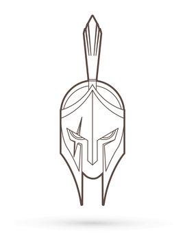 Roman or Greek Helmet , Spartan Helmet, Angry Warrior face outline graphic vector