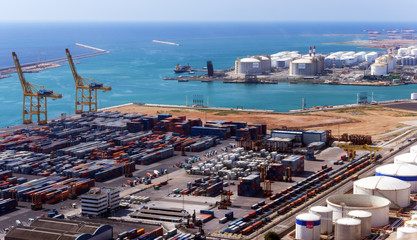 Port of Barcelona, Spain (ES). aerial view container, commercial, industrial and logistics port.
