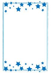 hangemalter blauer Rahmen mit Sternen Weihnachten