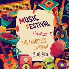Music festival. Colorful music background. Vector illustration