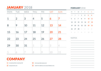 January 2018. Calendar planner design template. Week starts on Monday. Stationery design