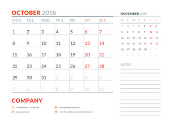 October 2018. Calendar planner design template. Week starts on Monday. Stationery design