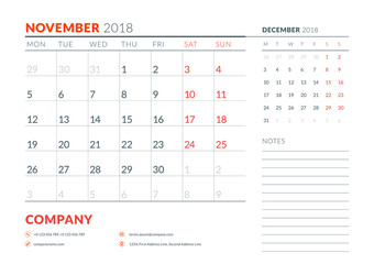 November 2018. Calendar planner design template. Week starts on Monday. Stationery design