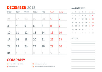 December 2018. Calendar planner design template. Week starts on Monday. Stationery design