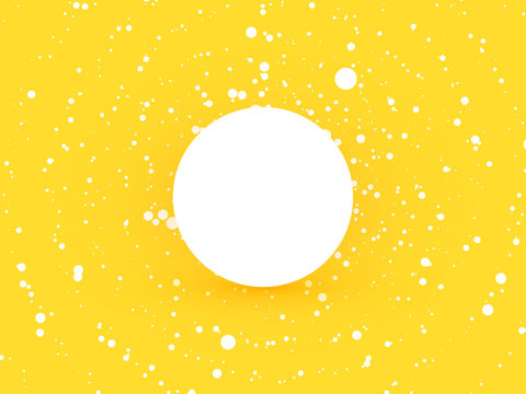 abstract yellow circle dots background with white label