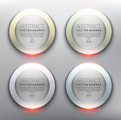 Vector glass web banners set of 4. Round glossy banners with frames in pastel colors. Isolated and transparent on the light panel. Each item contains space for own text. Vector illustration. Eps10