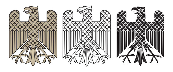 Knight's heraldic emblem. German heraldic eagle