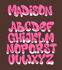 Ice cream font. Cold sweet alphabet. dessert lettering.