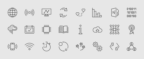 Set of Data Analysis Related Technology Vector Line Icons. Contains such Icons as Charts, Wi-fi, Graphs, Traffic Analysis, Big Data and more. Editable Stroke. 32x32 Pixel Perfect Papier Peint