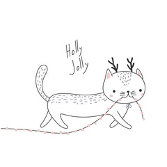 Hand drawn card with cute funny cat with deer antlers, carrying Christmas lights garland in its mouth. Isolated objects on white background. Vector illustration. Design concept kids, winter holidays.
