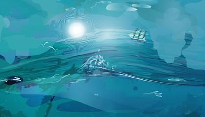 Sea and sun beautiful landscape vector background