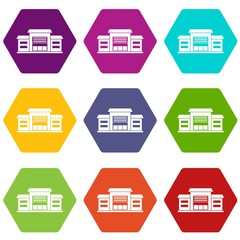 Warehouse icon set color hexahedron