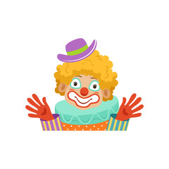 Funny circus clown showing his hands, avatar of cartoon friendly clown in classic outfit vector Illustration