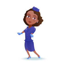 Stewardess cartoon character, airline crew member, cute african girl in blue uniform doing safety briefing, vector illustration
