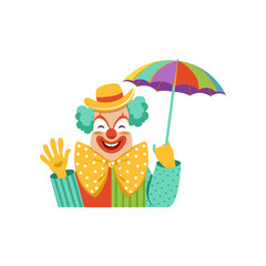 Funny circus clown in traditional makeup holding colorful umbrella, a cartoon friendly clown in classic outfit vector Illustration