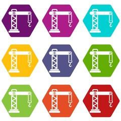 Crane icon set color hexahedron