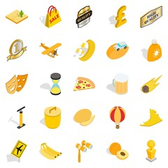 Cultural rest icons set, isometric style