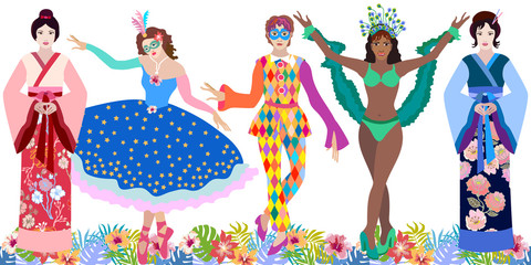 Big set of carnival characters. Chinese and Japanese girls in kimono, young Brazilian dancer, harlequin and girl in the mask and ball dress.