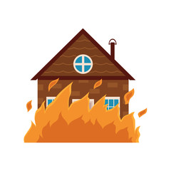Cottage house burning, fire insurance concept icon, cartoon vector illustration isolated on white background. Fire insurance icon, symbol, sign with cartoon style picture of burning cottage house