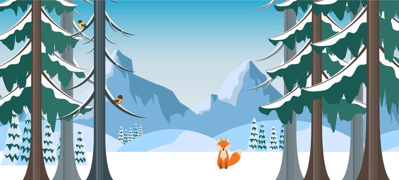 Winter Landscape with Fox in Flat Style Illustartion