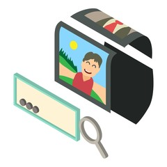 Search photo icon, isometric 3d style